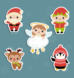 set of christmas characters set of christmas vector image