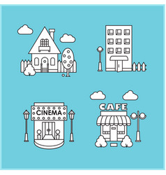 Set of city buildings house cafe cinema vector