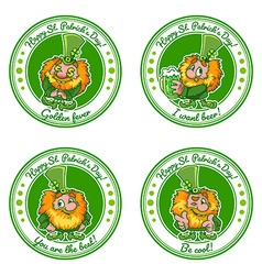 Set of four round stickers with leprechauns for st vector