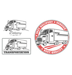 Set of labels and logos for delivery truck vector