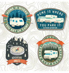 Set summer camp patches concept vector