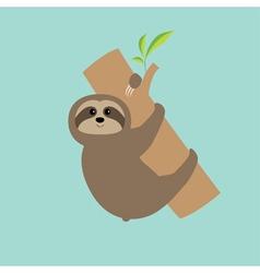 Sloth hugs tree branch Cute cartoon character Wild vector image