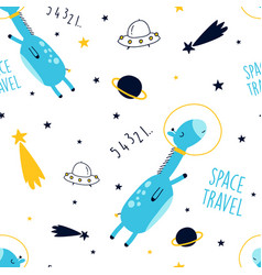 Space and giraffe seamless pattern hand drawing vector