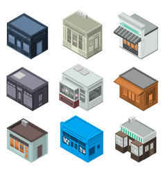 store facade icon set isometric style vector image