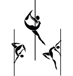 Stylized pole dancers vector