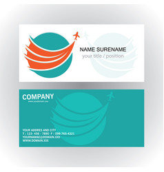 Swirl circle plane travel logo business card vector