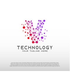 Technology logo with initial v letter network vector