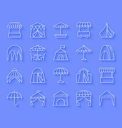 Tent simple paper cut icons set vector