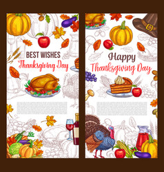 Thanksgiving day sketch greeting posters vector