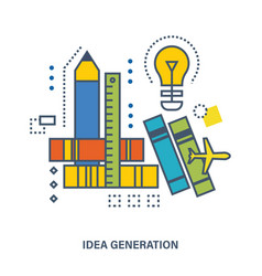 The generation of ideas and creative thinking vector