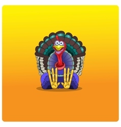 The multi-colored turkey-cock sits and waits for vector image