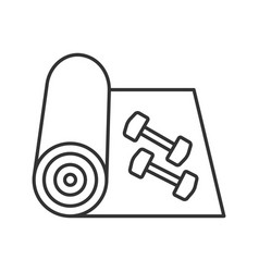 Training mat with dumbbells linear icon vector