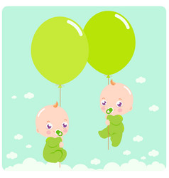twin babies with balloons vector image