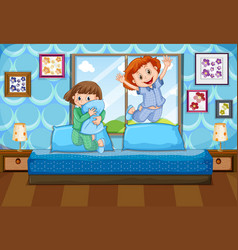 two girls in pajamas jumping on bed vector image