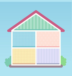 village house cutaway flat style vector image