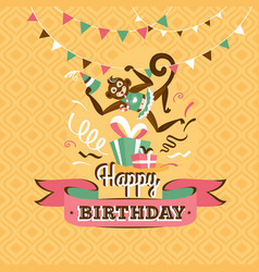 Vintage birthday greeting card with a monkey vector