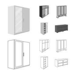 Wardrobe with mirror wardrobe shelving with vector