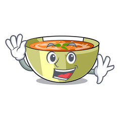 Waving cartoon lentil soup ready to served vector