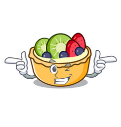 wink fruit tart character cartoon vector image