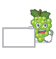 with board green grapes character cartoon vector image