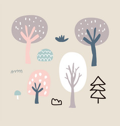 wood nature isolated - trees bushes vector image