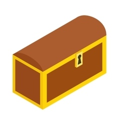 Wooden chest isometric 3d icon vector