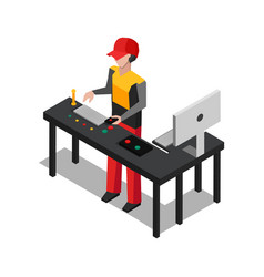 Worker dealing with devices vector