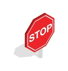 Red traffic stop sign icon isometric 3d style vector image