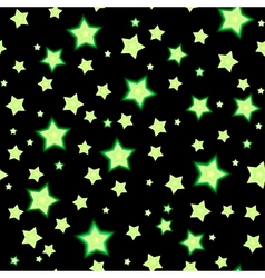 Seamless bacgkround with cartoon fluorescent stars vector image