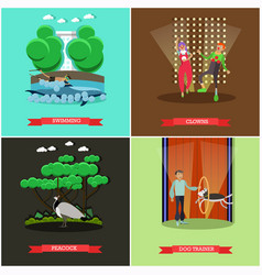 set of dolphinarium and circus show posters vector image vector image