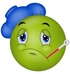 Sick emoticon smiley vector image vector image