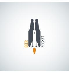 Beer bottle logo rocket concept background vector