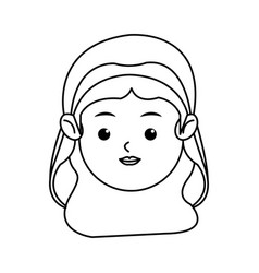 cute face virgin mary manger cartoon outline icon vector image