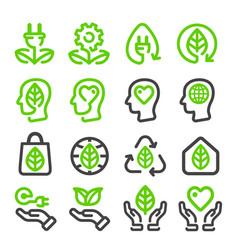ecologyenergy renewable line icon vector image