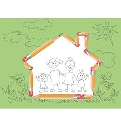 pencil in house shape and doodle family vector image vector image