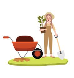woman girl gardening farming bring pot plant vector image vector image