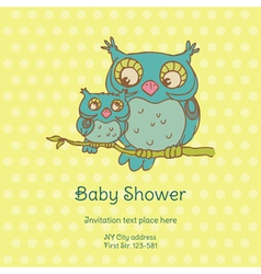 Baby Shower Card with Owls vector image vector image