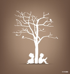 background with children read a book under tree I vector image
