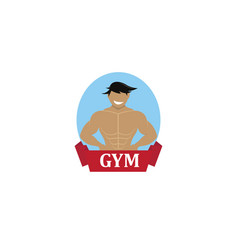 bodybuilding smile logo vector image