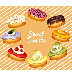 Different flavor of donuts vector image