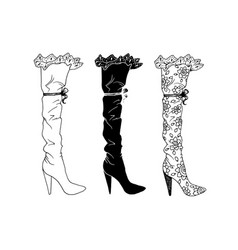 high-heeled shoes set for woman fashion footwear vector image vector image
