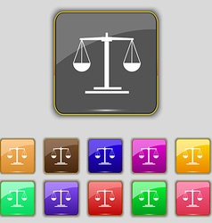 scales Icon sign Set with eleven colored buttons vector image vector image