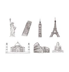 world travel and sights hand drawn sketches vector image