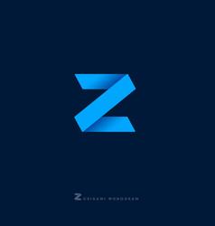 z letter origami monogram vector image