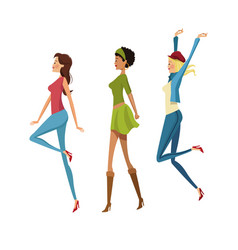 Group happy woman fashion slim vector