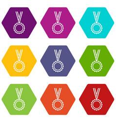 medal icon set color hexahedron vector image vector image