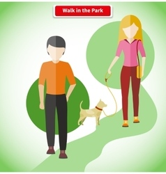 Walk in the Park with Dog Concept vector image vector image