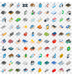 100 house icons set isometric 3d style vector