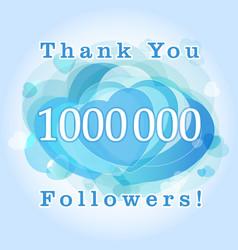 1000000 followers hearts blue vector image
