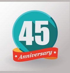 45 anniversary label with ribbon vector
